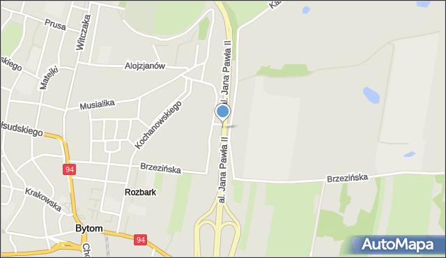Bytom, Aleja Jana Pawła II, mapa Bytomia
