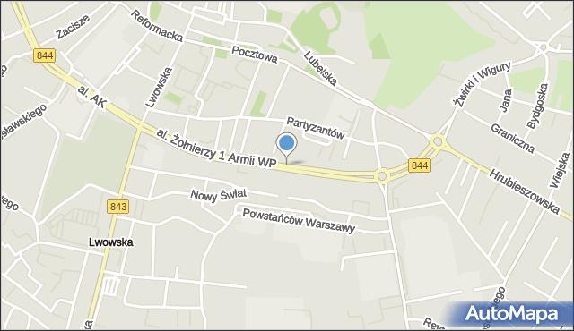 Chełm, Aleja Żołnierzy 1 Armii Wojska Polskiego, mapa Chełma