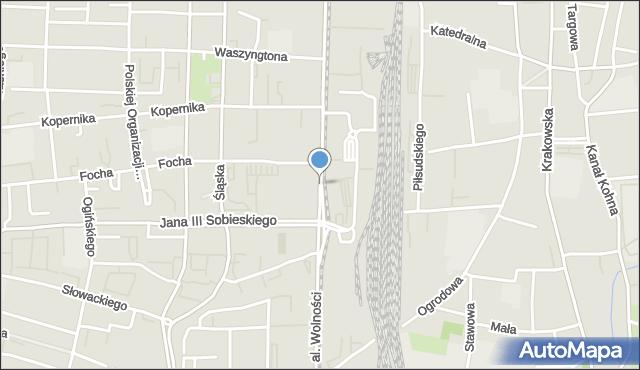 Częstochowa, Aleja Wolności, mapa Częstochowy