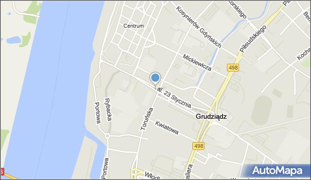 Grudziądz, Aleja 23 Stycznia, mapa Grudziądza