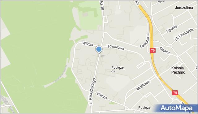 Jaworzno, Aleja Piłsudskiego Józefa, marsz., mapa Jaworzno