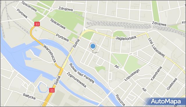 Kołobrzeg, Aleja 1 Armii Wojska Polskiego, mapa Kołobrzegu