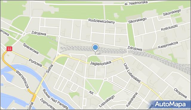 Kołobrzeg, Aleja Kolejowa, mapa Kołobrzegu