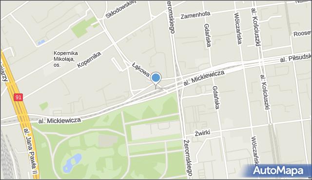 Łódź, Aleja Mickiewicza Adama, mapa Łodzi