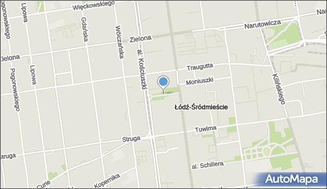 Łódź, Aleja Rubinsteina Artura, mapa Łodzi