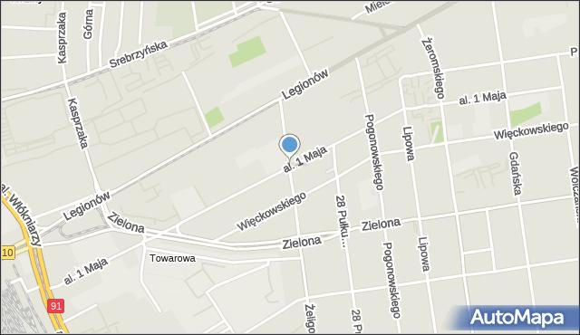 Łódź, Aleja 1 Maja, mapa Łodzi