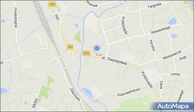 Olecko, Aleja Zwycięstwa, mapa Olecko