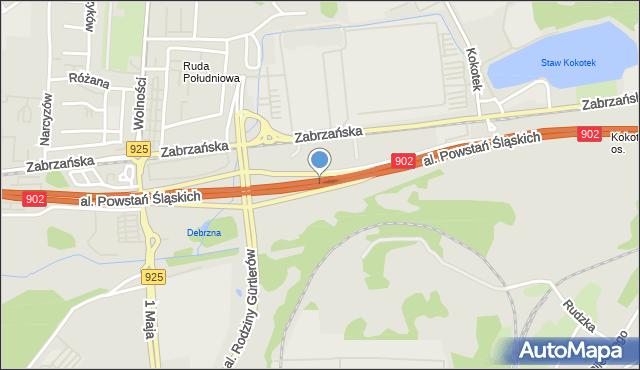 Ruda Śląska, Aleja Powstań Śląskich, mapa Rudy Śląskiej