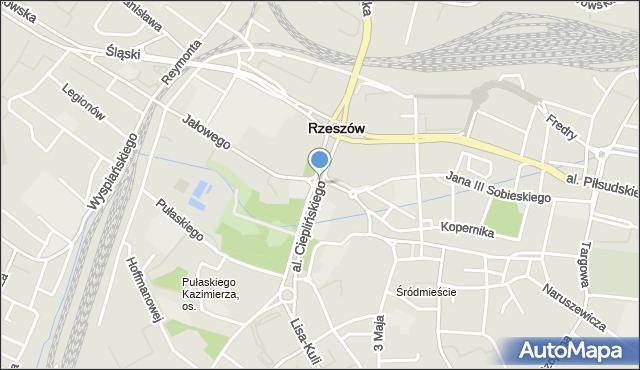 Rzeszów, Aleja Cieplińskiego Łukasza, mapa Rzeszów
