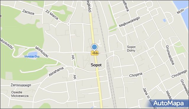 Sopot, Aleja Niepodległości, mapa Sopotu
