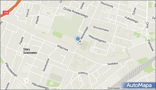 Sosnowiec, Aleja Mireckiego Józefa, mapa Sosnowca