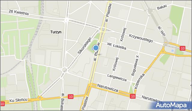 Szczecin, Aleja Piastów, mapa Szczecina