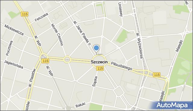Szczecin, Aleja Papieża Jana Pawła II, mapa Szczecina