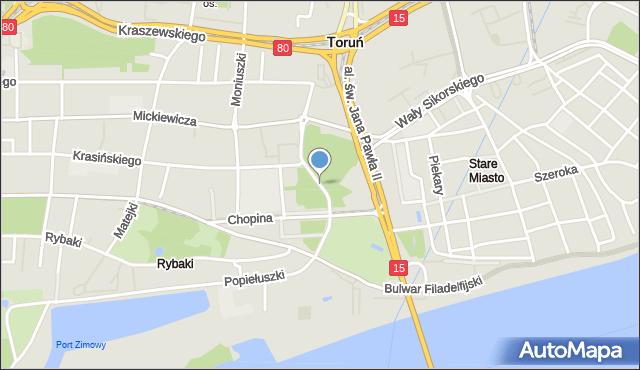 Toruń, Aleja 500-lecia Torunia, mapa Torunia
