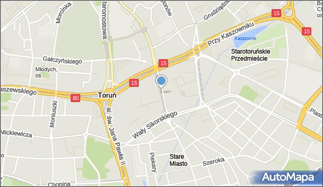 Toruń, Aleja Solidarności, mapa Torunia
