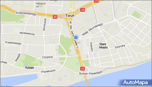 Toruń, Aleja św. Jana Pawła II, mapa Torunia