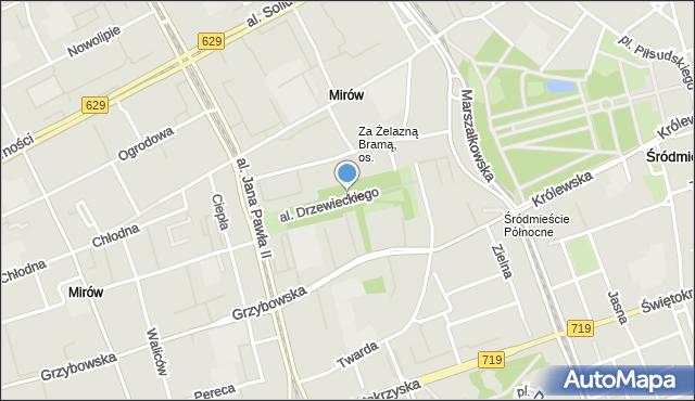 Warszawa, Aleja Drzewieckiego Piotra, mapa Warszawy