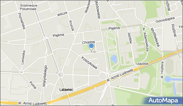 Warszawa, Aleja Róż, mapa Warszawy