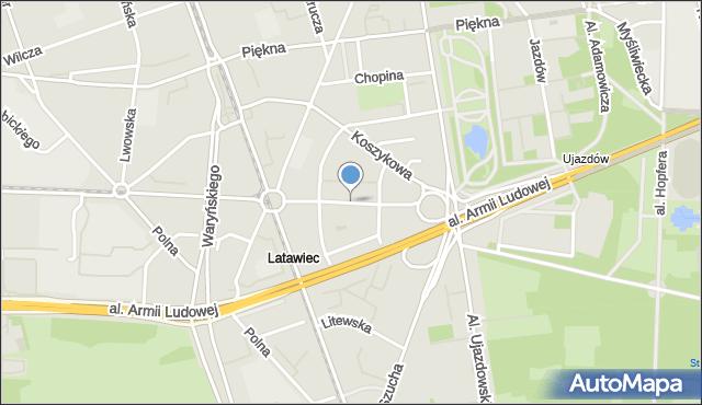 Warszawa, Aleja Wyzwolenia, mapa Warszawy