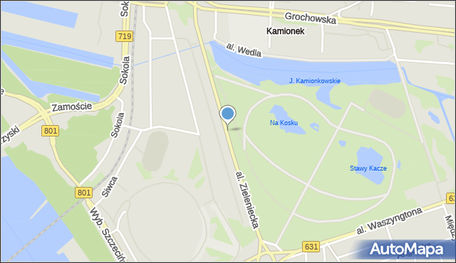 Warszawa, Aleja Zieleniecka, mapa Warszawy