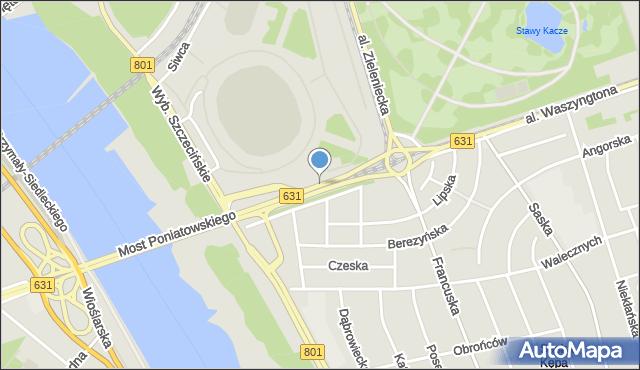 Warszawa, Aleja Księcia Józefa Poniatowskiego, mapa Warszawy