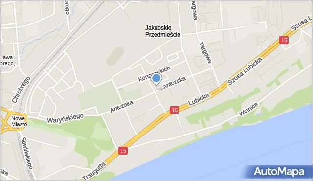 Toruń, Antczaka Antoniego, mapa Torunia