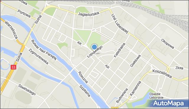Kołobrzeg, Armii Krajowej, mapa Kołobrzegu