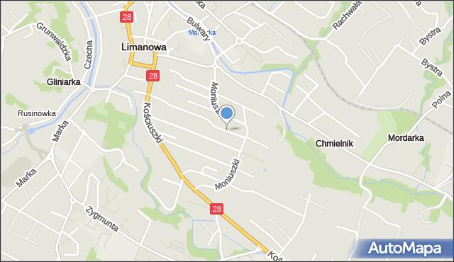 Limanowa, Armińskiego Franciszka, mapa Limanowa