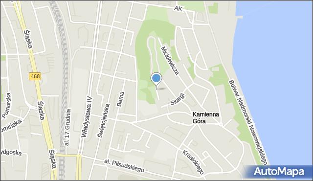 Gdynia, Asnyka Adama, mapa Gdyni