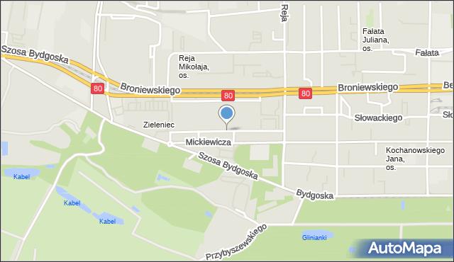 Toruń, Asnyka Adama, mapa Torunia
