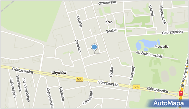 Warszawa, Astronomów, mapa Warszawy