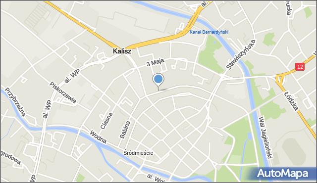 Kalisz, Babina, mapa Kalisza