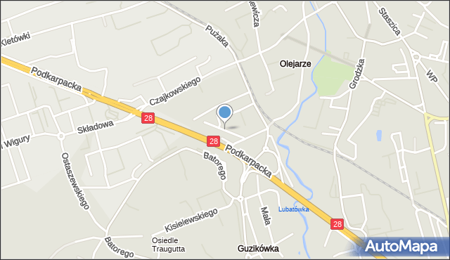 Krosno, Balkonowa, mapa Krosna