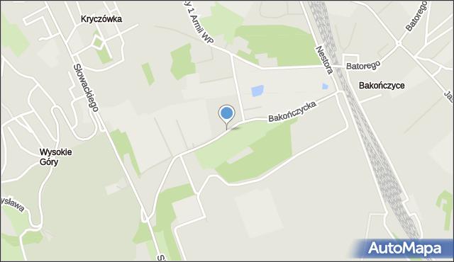 Przemyśl, Bakończycka, mapa Przemyśla