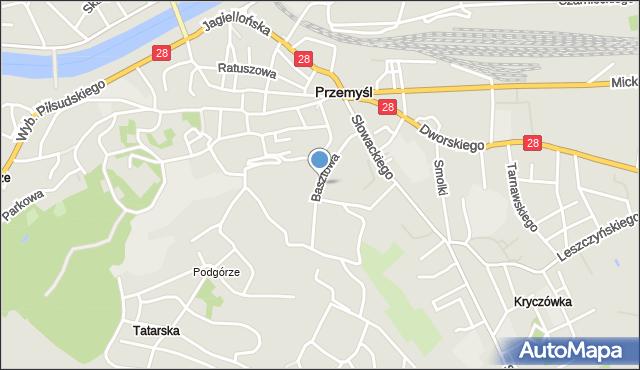 Przemyśl, Basztowa, mapa Przemyśla
