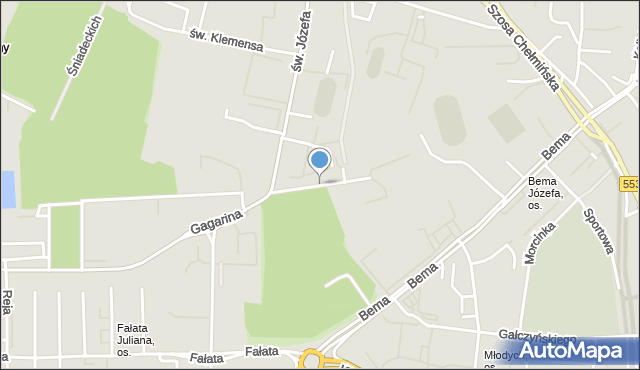Toruń, Balonowa, mapa Torunia