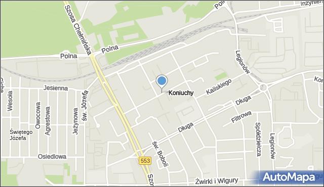 Toruń, Bartkiewiczówny Janiny, mapa Torunia