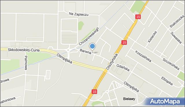 Toruń, Barwna, mapa Torunia