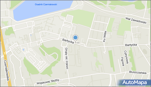 Warszawa, Bartycka, mapa Warszawy