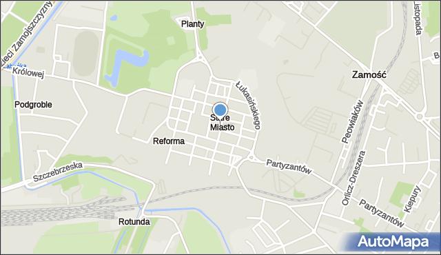 Zamość, Bazyliańska, mapa Zamościa