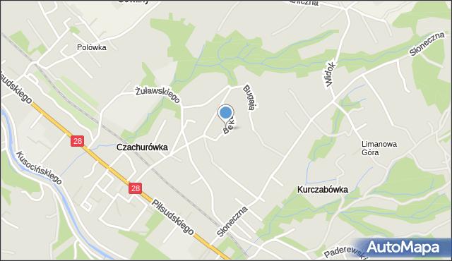 Limanowa, Beka Józefa, mapa Limanowa