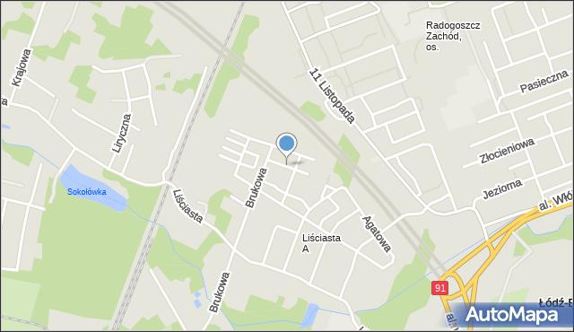 Łódź, Berylowa, mapa Łodzi