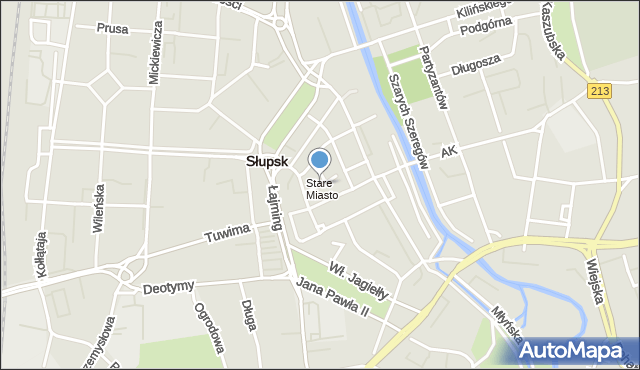 Słupsk, Bema Józefa, gen., mapa Słupska