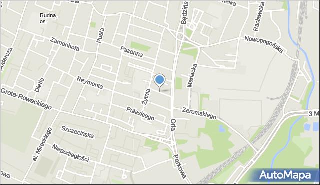 Sosnowiec, Bema Józefa, gen., mapa Sosnowca
