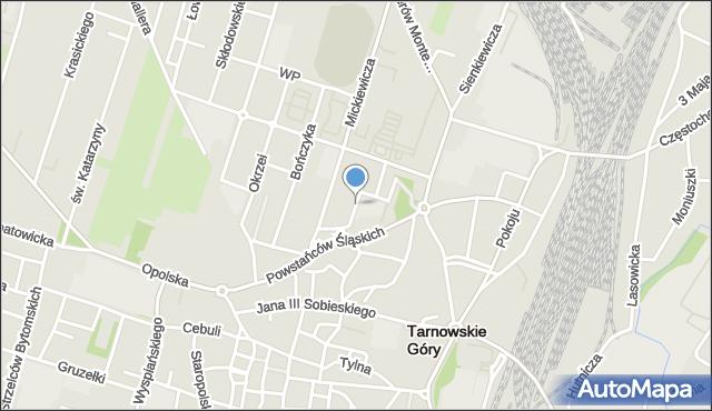 Tarnowskie Góry, Bema Józefa, gen., mapa Tarnowskie Góry