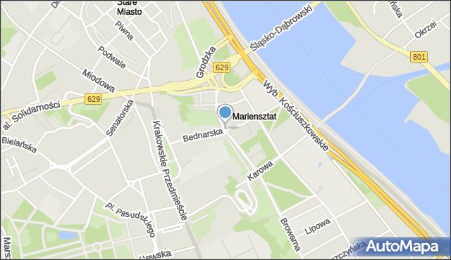 Warszawa, Bednarska, mapa Warszawy