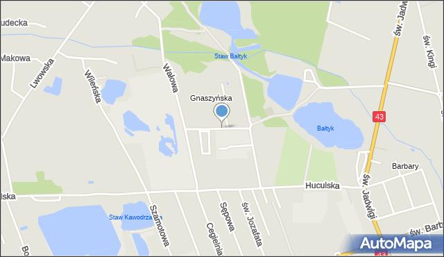 Częstochowa, Bieszczadzka, mapa Częstochowy