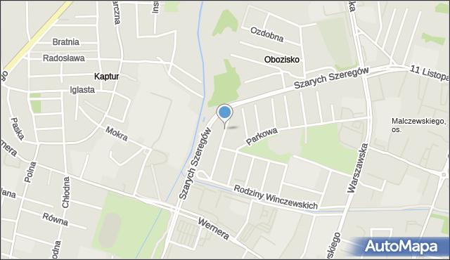 Radom, Białobrzeska, mapa Radomia