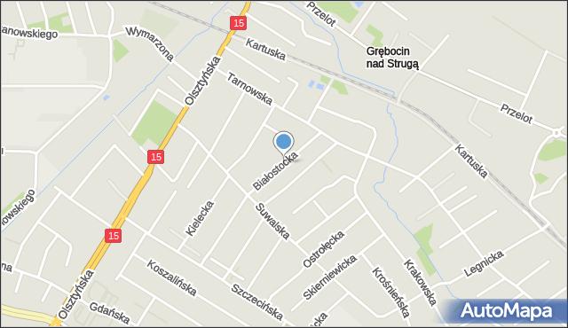 Toruń, Białostocka, mapa Torunia