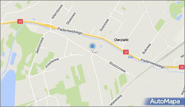Grudziądz, Bluszczowa, mapa Grudziądza